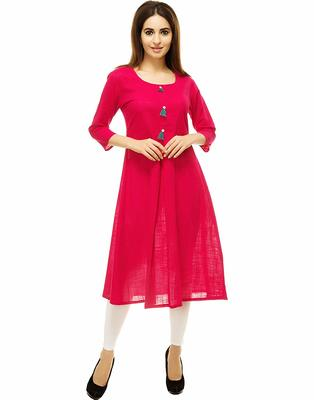 Rani-pink plain cotton kurti