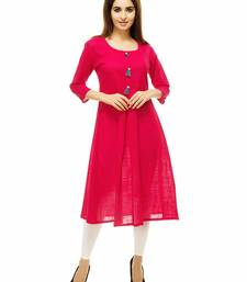 Rani-pink plain cotton kurti