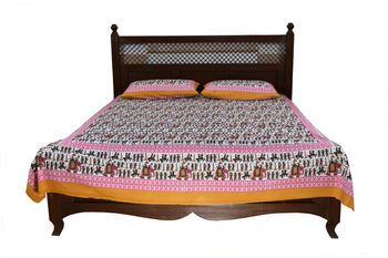 Multicolor Sanganeri Cotton Printed Double Bed Size Bedsheet