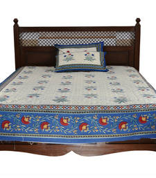 Buy Beige Sanganeri Cotton Printed Double Bed Size Bedsheet bed-sheet online