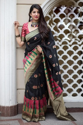 Black Color Satin Silk Designer Printed Saree With Blouse