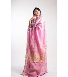 pink linen embroidery saree with blouse