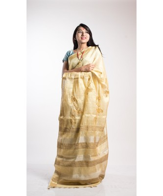 gold tissue linen embroidery saree with blouse