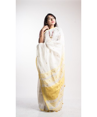 white linen embroidery saree with blouse