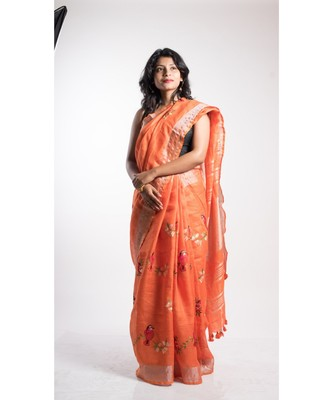 orange linen embroidery saree with blouse