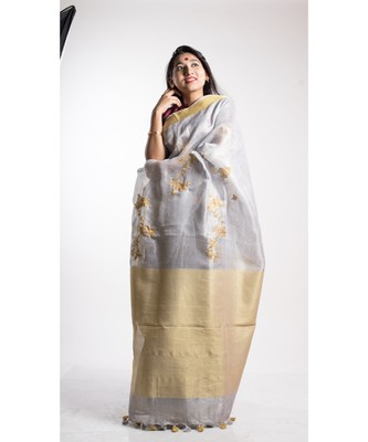 Grey Tissue Linen Embroidery Saree With Blouse