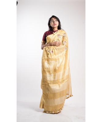 gold printed linen saree with blouse