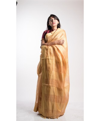 gold tissue linen saree with blouse
