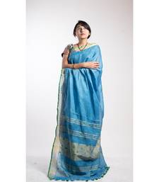 blue embroidery linen saree with blouse