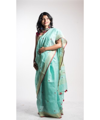 Turquoise Embroidery Linen Saree With Blouse