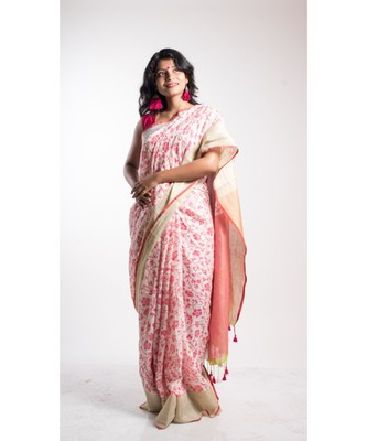 multicolor screen print saree with blouse