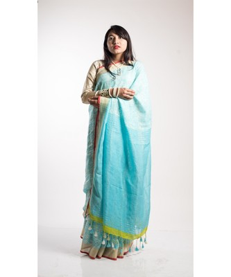 turquoise print linen saree with blouse