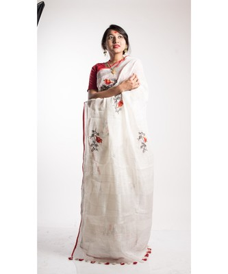white embroidery linen saree with blouse