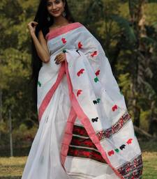 white hand woven cotton saree with blouse