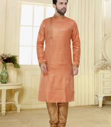Pink hand woven banarasi kurta pajama