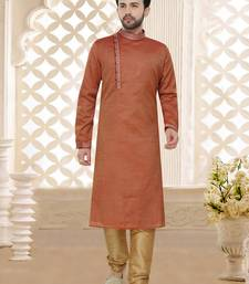 Maroon hand woven jaquard kurta pajama