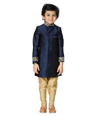 Navy Embroidered Sherwani Gold Churidar Set