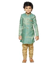 Green jacquard Sherwani gold churidar Set