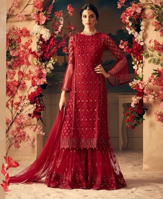 RED EMBROIDERED NET SHARARA SUIT SEMI STITCHED