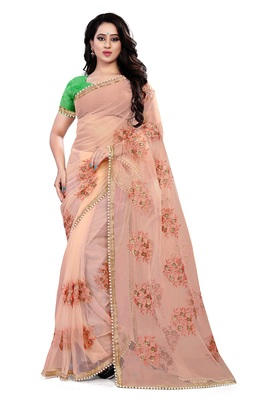 light orange Net Embroidery Work Saree With Blouse