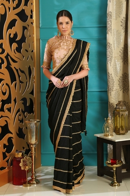 Black embroidered art silk saree with blouse