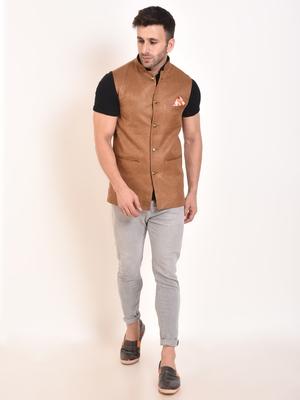 Brown Plain Jute Nehru Jacket