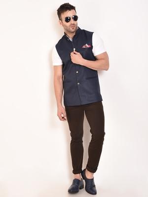 Blue Plain Jute Nehru Jacket