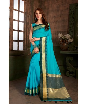 3f4e4a1e05 sky blue hand woven cotton silk saree with blouse - Rajashree sarees -  2883405