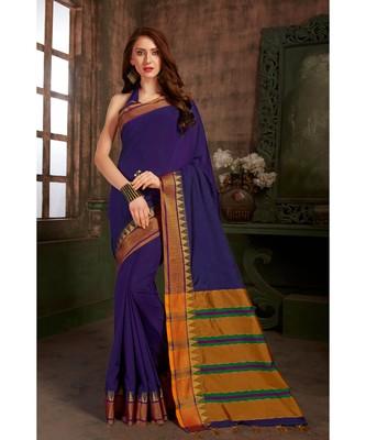 light navy blue hand woven cotton silk saree with blouse