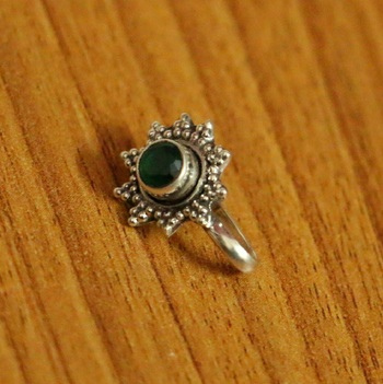 Green Onyx Nose Ring