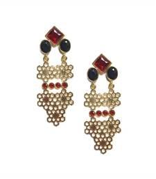 Black Geometric Drop Earrings