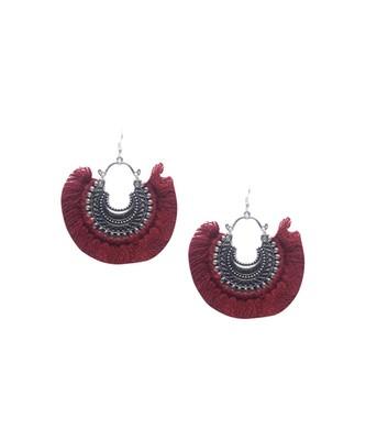 Mia Maroon Tassel Earrings