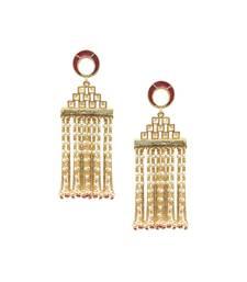 Red Pearl Tassel Earrings