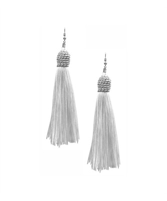 Mariachi White Tassel Earrings