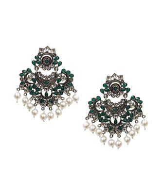 Nagina Green Statement Earrings