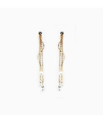 Gold Wave Tassel Earrings