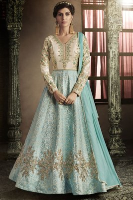 Firozi Color Embroidery Anarkali Suit
