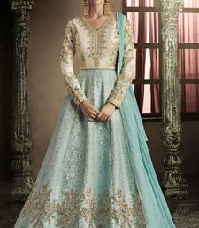 Firozi Color Embroidery Anarkali Suit