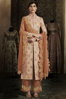 Peach Color Embroidery Anarkali Suit