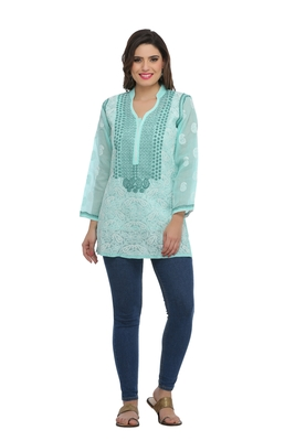 Ada Hand Embroidered Sea Green Cotton Lucknow Chikankari Top