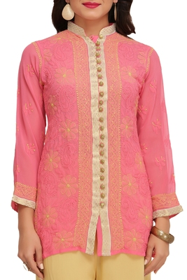 Ada Hand Embroidered Pink Faux Georgette Lucknow Chikan Top