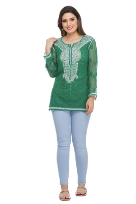 Ada Hand Embroidered Green Faux Georgette Lucknow Chikankari Top