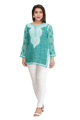Ada Hand Embroidered Sea Green Faux Georgette Lucknow Chikan Top
