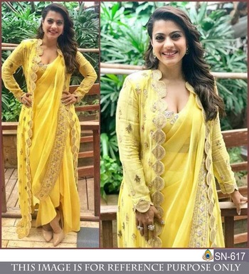Srk Yellow Color Bember Georgette Plain Saree With Koti