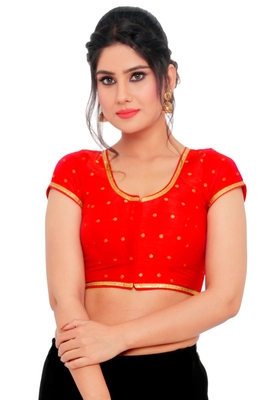 Red Brocade Readymade Padded Saree Blouse