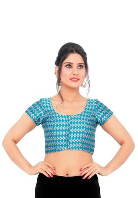 Rama Green Brocade Readymade Padded Saree Blouse