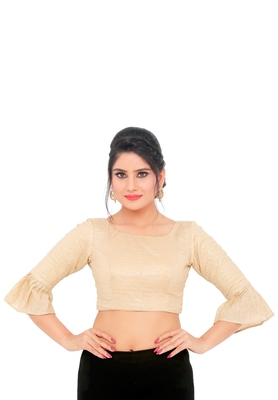 Gold Chiffon Readymade Padded Saree Blouse