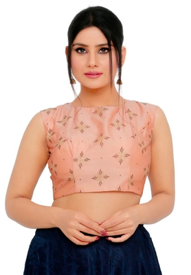 Pastel Peach Cotton Silk Readymade Padded Saree Blouse
