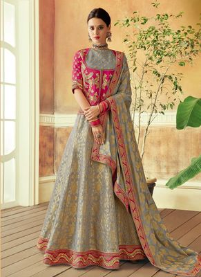 Grey embroidered brocade lehenga with dupatta