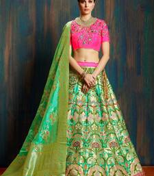 green woven art silk lehenga with dupatta